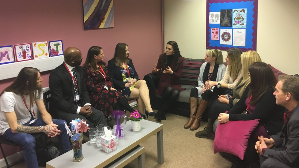 Duchess talks to parents and foster carers