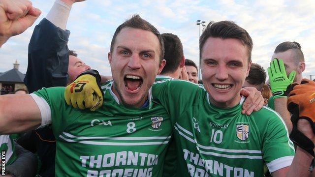 Michael McCann (left) celebrates Cargin's Antrim SFC final victory with his brother Paul