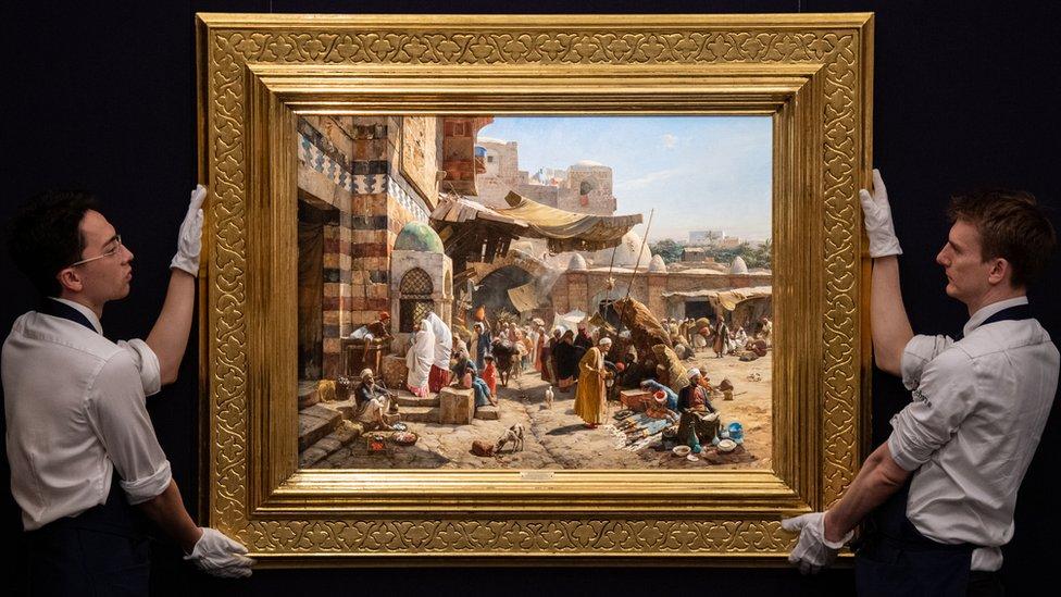 """حققت لوحة اخرى هي """"سوق في يافا"""" للفنان الألماني غوستاف باورنفيند رقما قياسيا عند بيعها بمبلغ 3.728.900 جنيه استرليني"""
