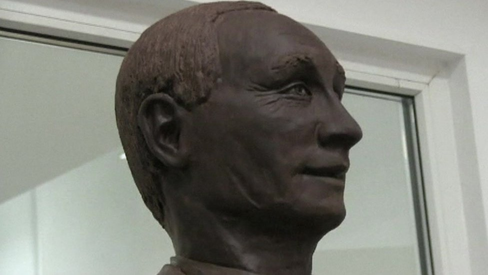 A life-size chocolate sculpture of Russian President Vladimir Putin