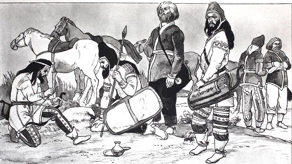 Una reproducción de una ilustración de guerreros escitas