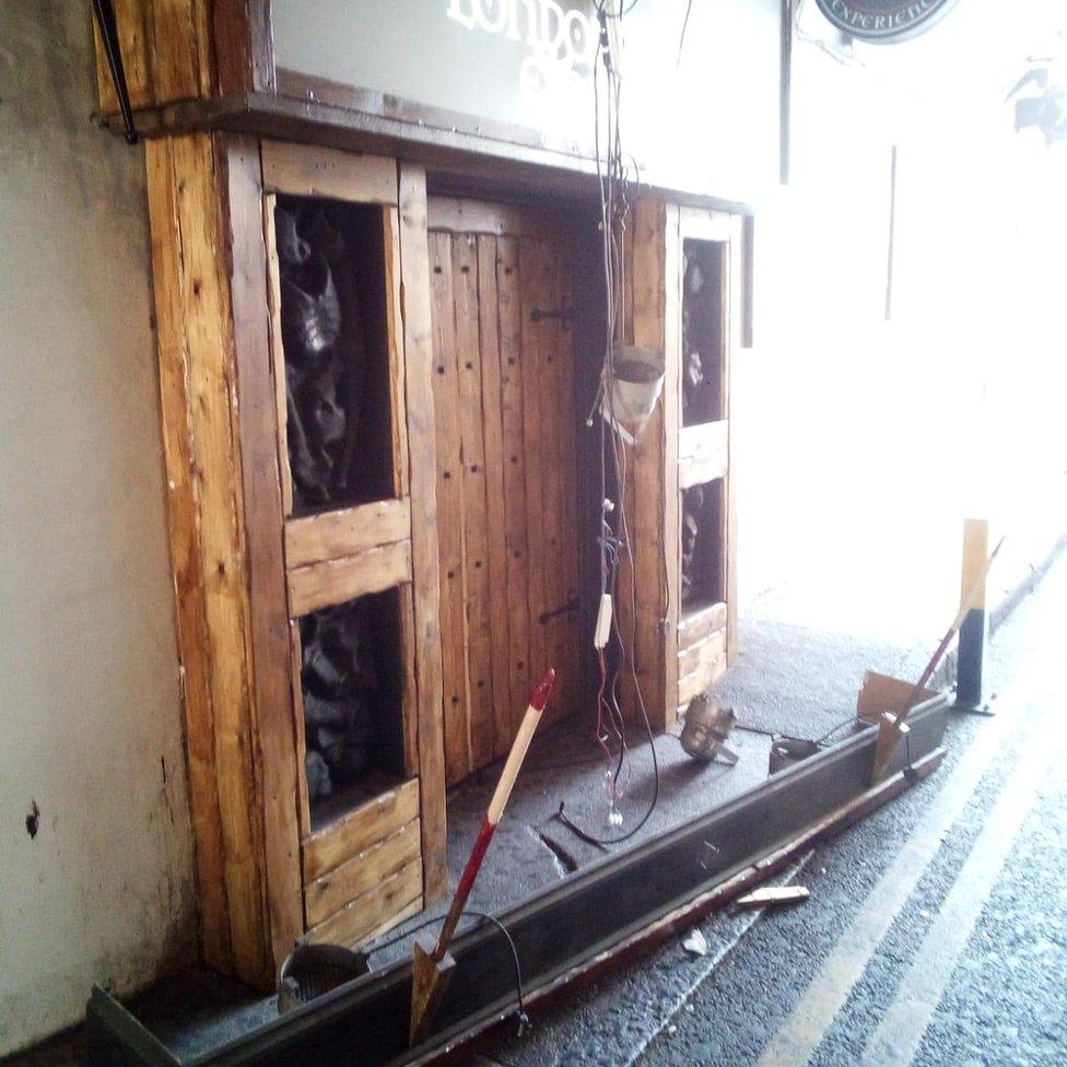 Damaged doorway