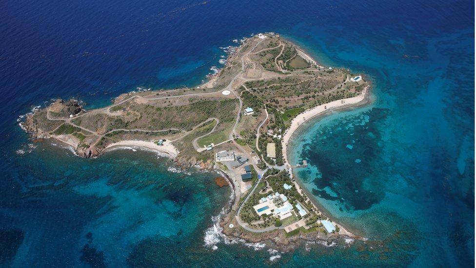 Vista aérea de la isla Little St. James