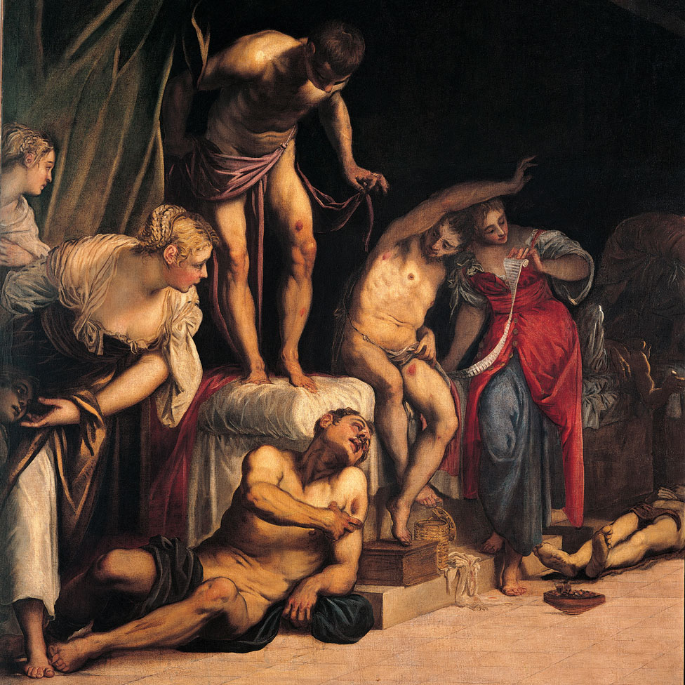 San Roque curando a las víctimas de la peste (San Rocco risana gli appestati), por Jacopo Robusti conocido como Tintoretto, 1549