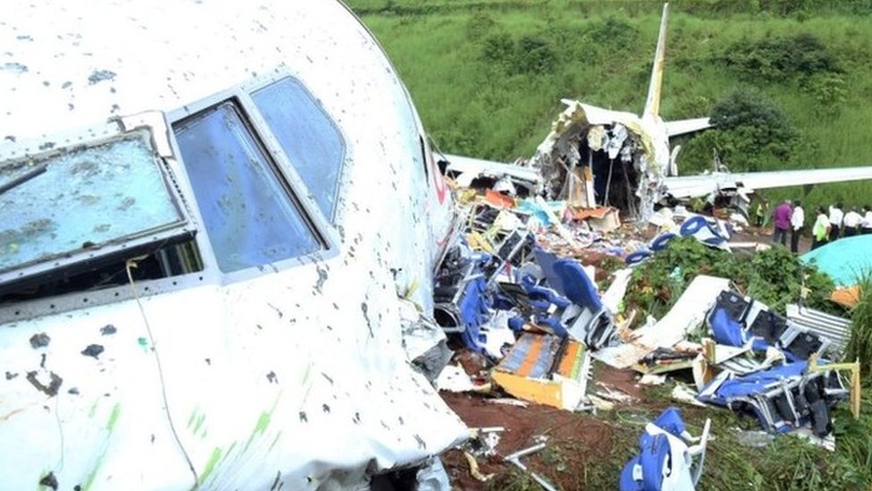The wreckage of an Air India Express plane in Kerala