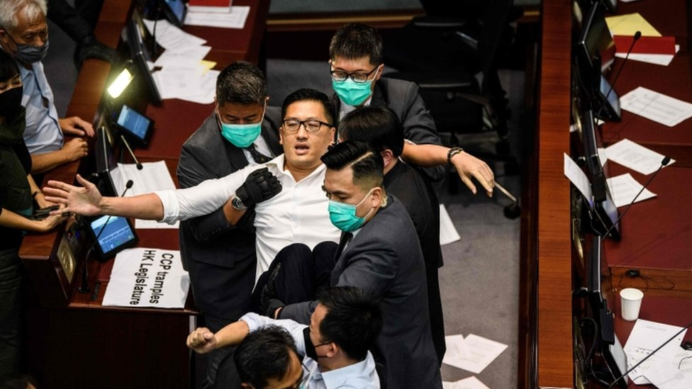 Clashes in Hong Kong's legislature on Monday showed the continuing political unrest