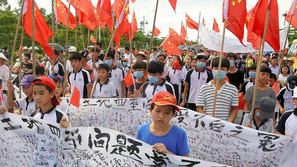 Protestas en Wukan en 2016.