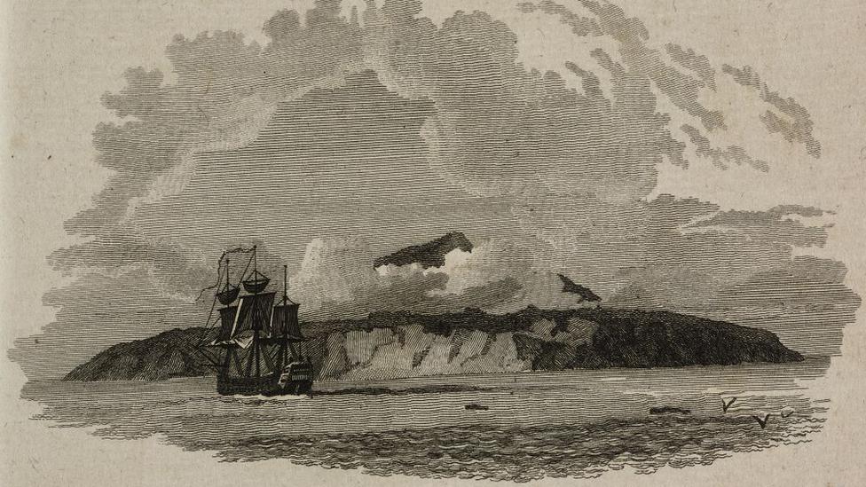 Gravura iz 1799. godine prikazuje pogled na ostrvo