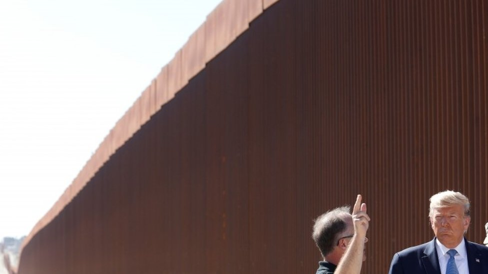 President Trump visits a section of the US-Mexico border wall