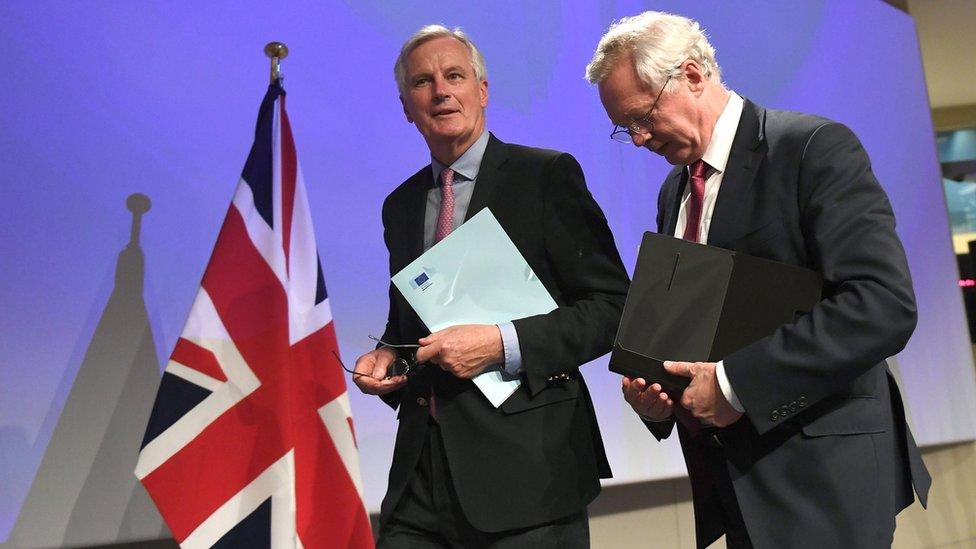 Michel Barnier and David Davis