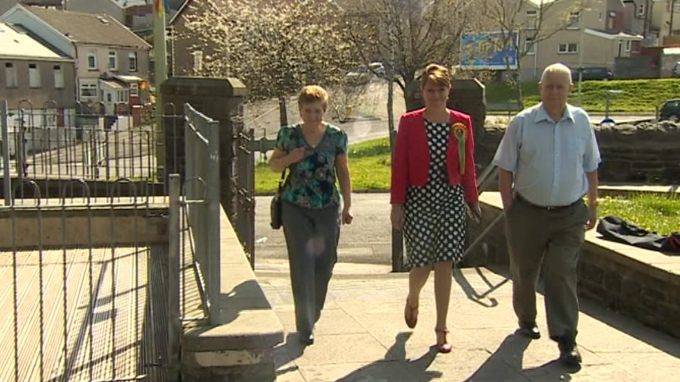 Leanne Wood turns out to vote in the Welsh Assembly election