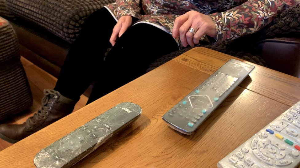 Cling film-covered remote controls