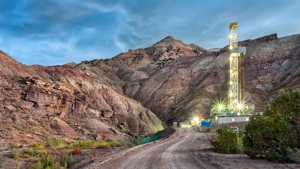 A fracking drill rig