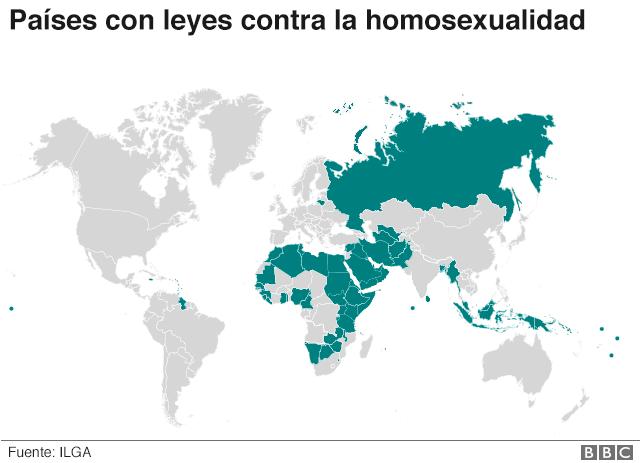 NO USAR, BBC Mapa de los países con leyes contra la homosexualidad