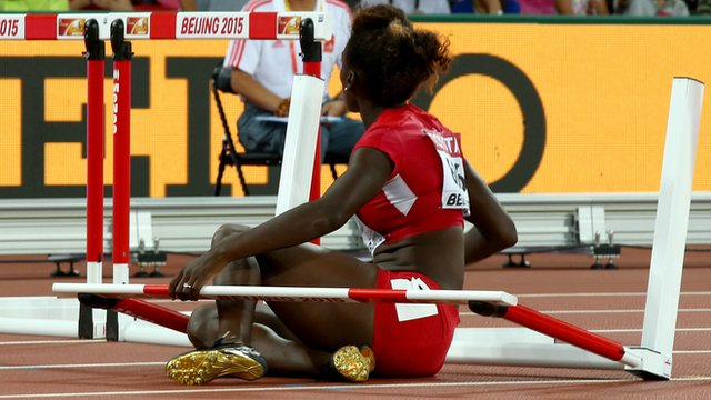Dawn Harper-Nelson fell at the second hurdle in her 100m hurdles semi-final at the World Championships