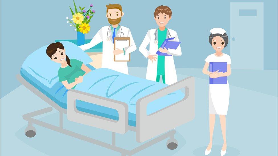 Dibujo de una habitación de hospital