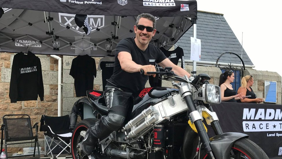 Zef Eisenberg on his turbo-charged bike on 16 July 2017 at an event in Guernsey.