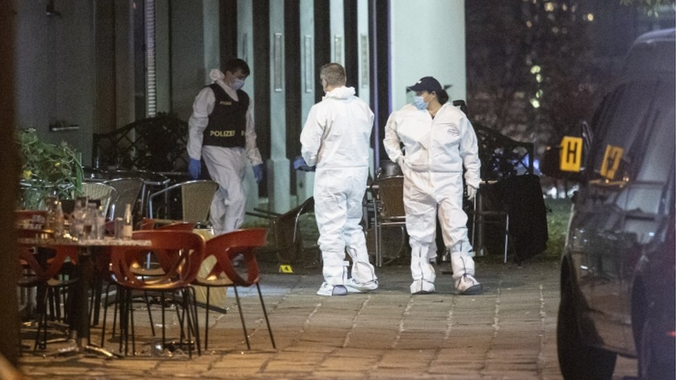 Crime scene investigators at work after multiple shootings in the first district of Vienna, Austria, 03 November 2020