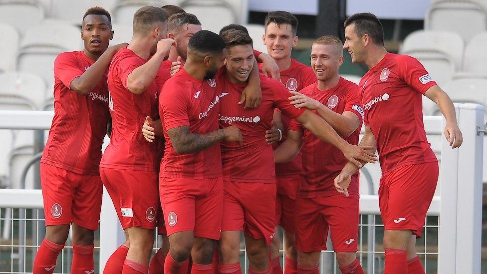 Telford celebrate a goal