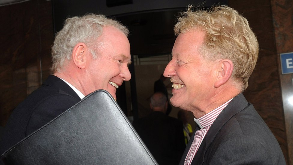 Martin McGuinness and Rev David Latimer at Sinn Fein's annual conference in 2011