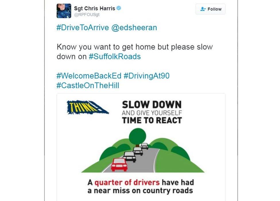 Tweet by Sgt Chris Harris