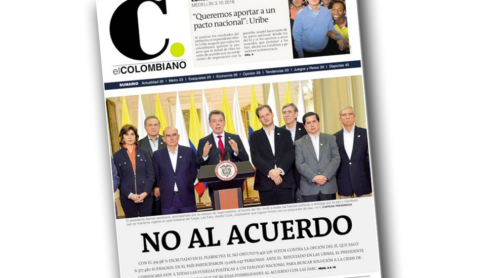 El Colombiano's front page