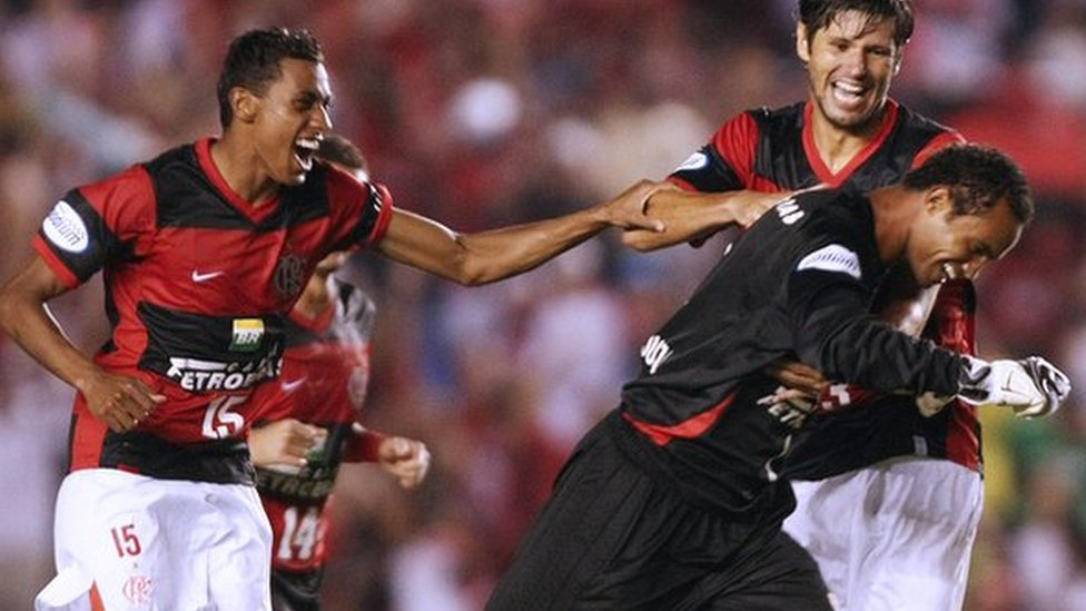 Bruno celebrates scoring with 2008 team-mates including ex-Manchester United midfielder Kleberson