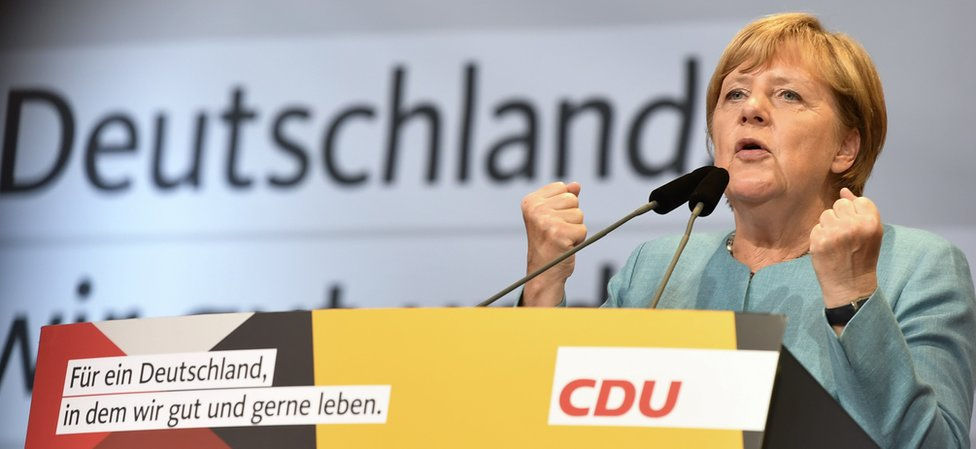 Chancellor Merkel at rally in Heilbronn, 16 Aug 17