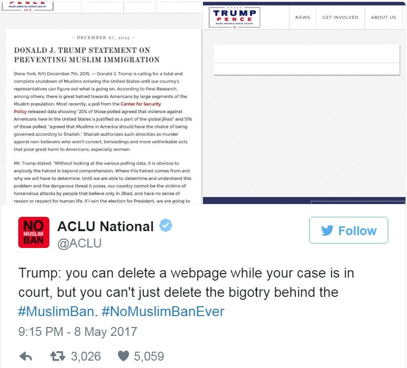 Screen grab of tweet by @ACLU