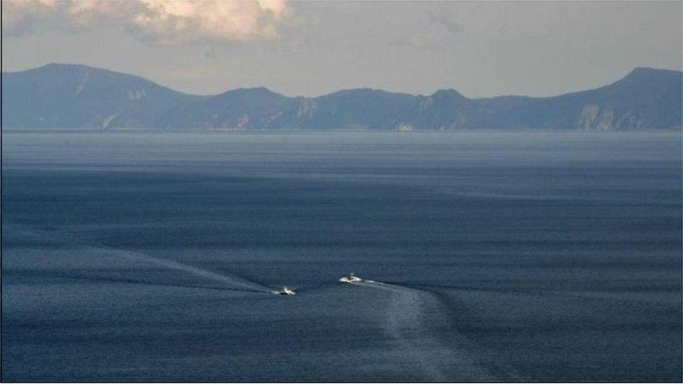 圖為被日本稱為國後島的南千島群島中的庫納施爾島