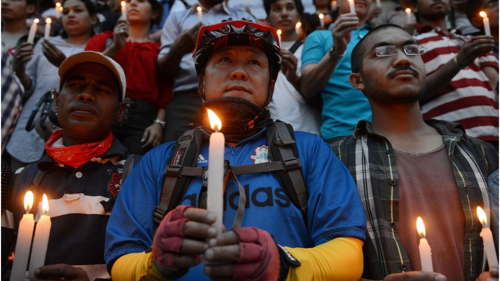 A vigil held for the 16 Sherpas who died in the avalanche