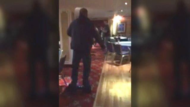 Gary Robson falls off hover board