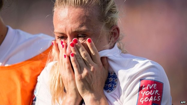 Laura Bassett weeps after her own goal in the England v Japan semi-final of the 2015 Women's World Cup