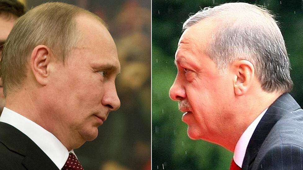 Vladimir Putin (L) and President Recep Tayyip Erdogan