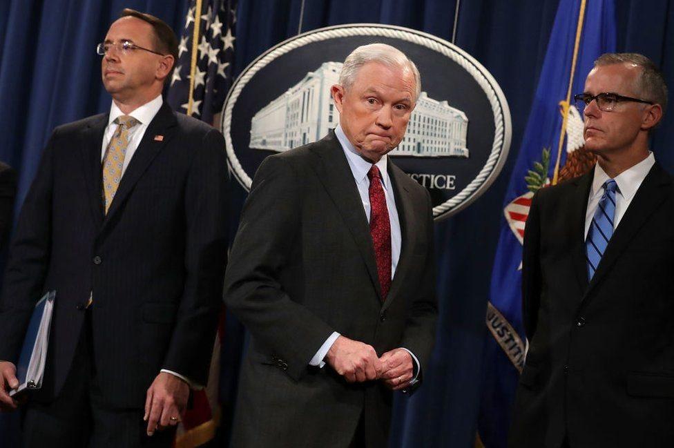 Dari kiri: Rosenstein, Jaksa Agung Jeff Sessions, dan McCabe.