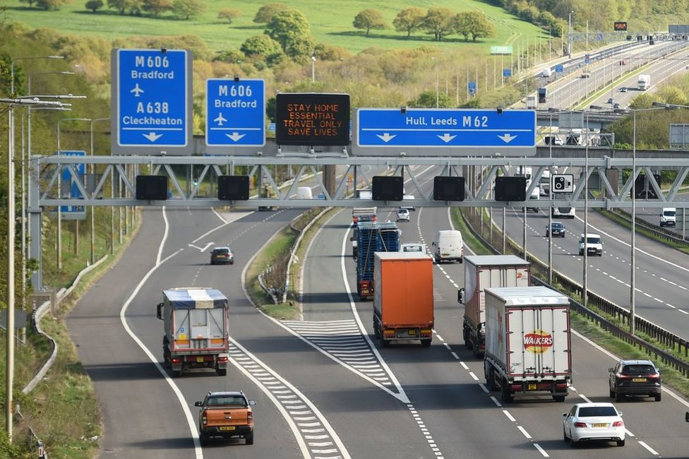 vehicles turning off the motorway for Bradford