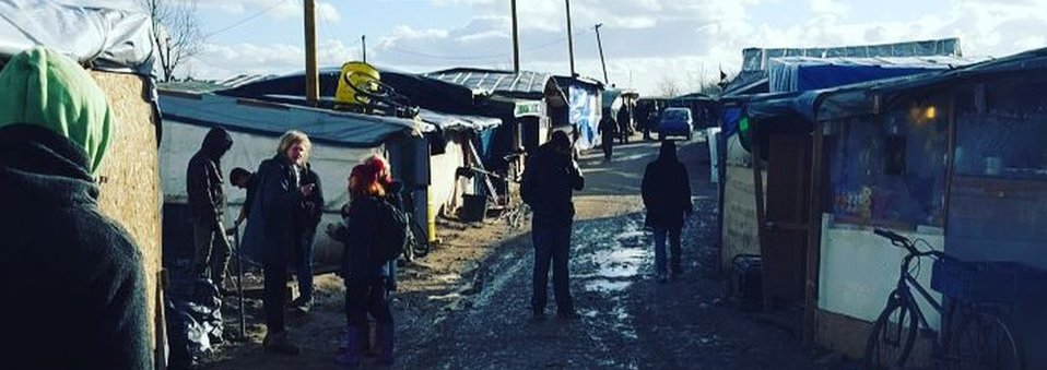 One of the streets in the Calais 'jungle'
