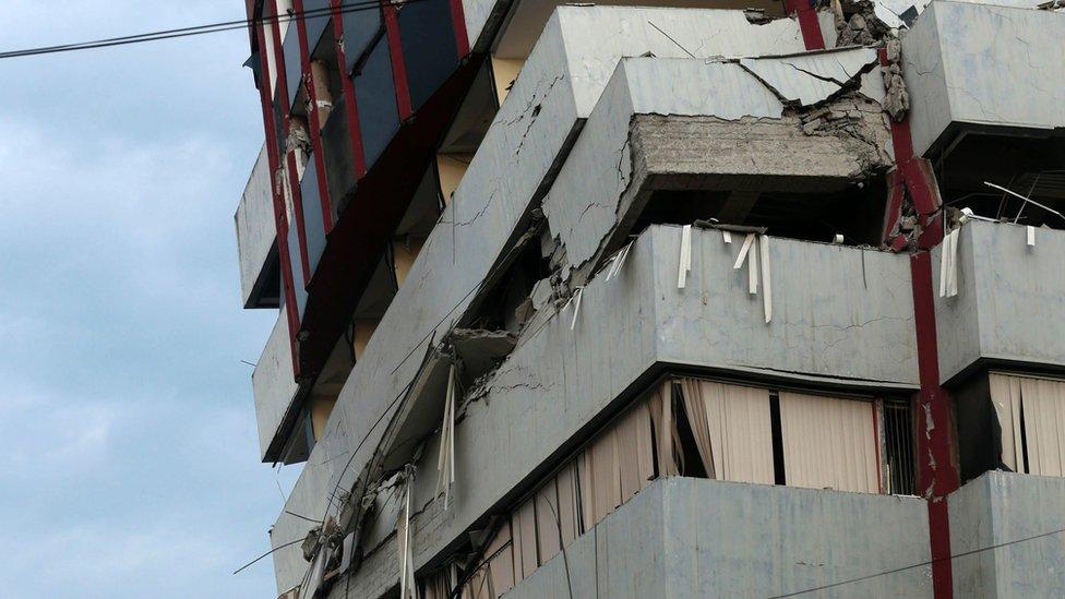 A building damaged in Ecuador's earthquake