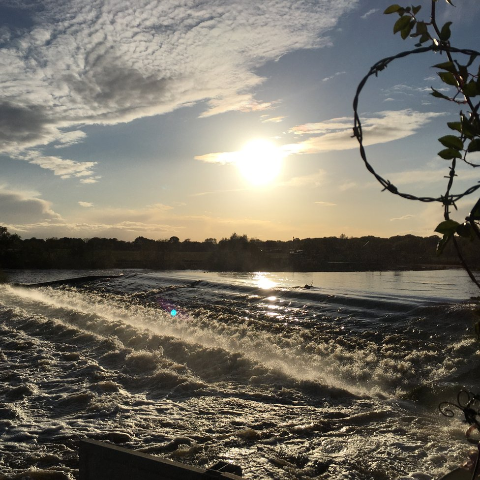 The River Trent's Beeston Weir in Nottinghamshire