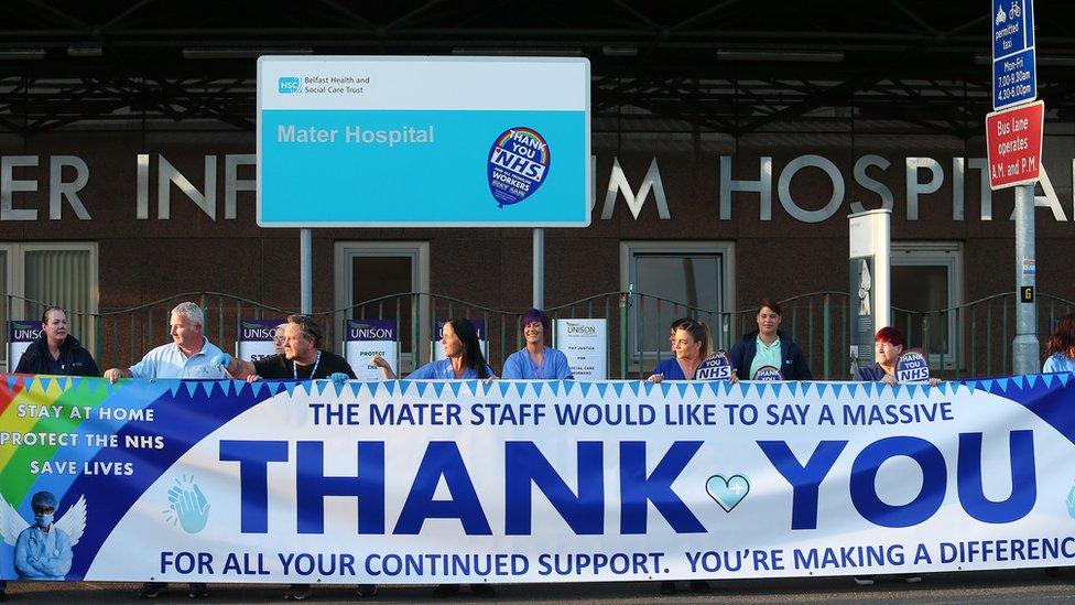 Health care workers and Unison members working at the Mater Hospital Belfast