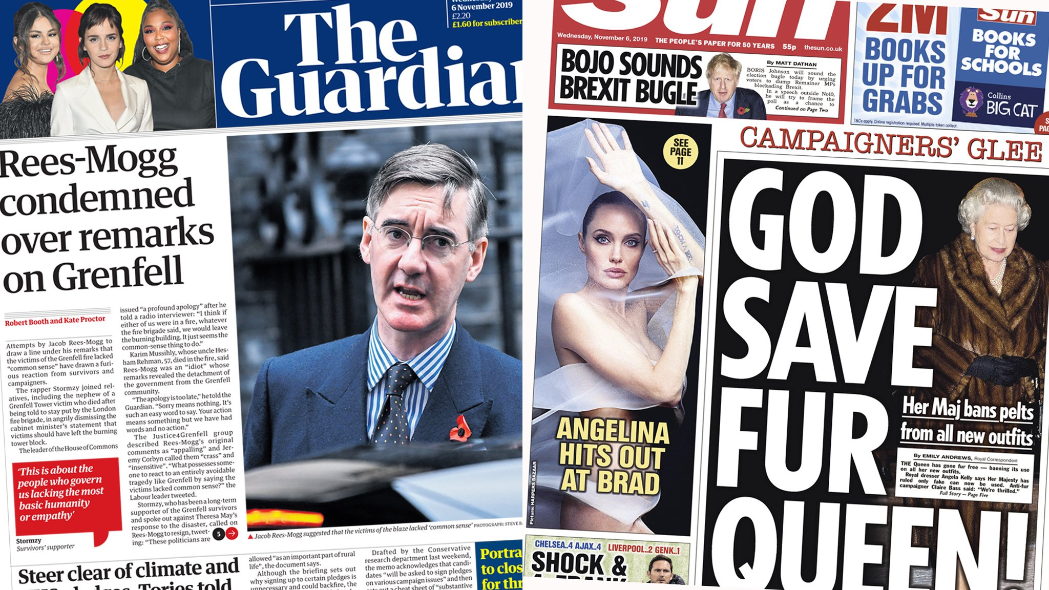 The Guardian and the Sun Wednesday