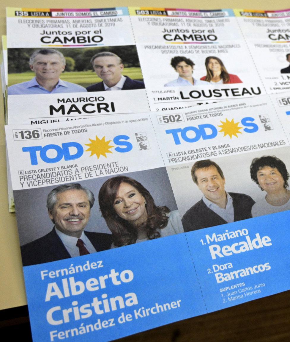 Boletas del Juntos por el Cambio y Frente de Todos