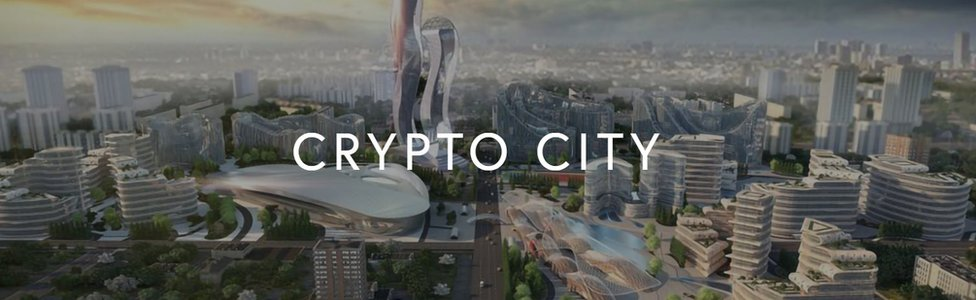 A drawing of what Cryptocity might look like as appeared on Akoin's website