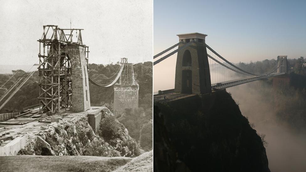 Clifton Suspension Bridge, circa 1863 and 2008