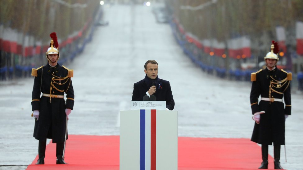 Macron gives speech