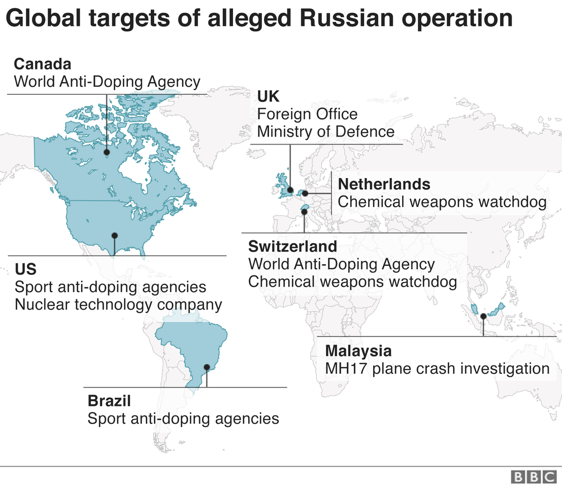 A map showing the alleged targets of the Russian cyber plots around the world