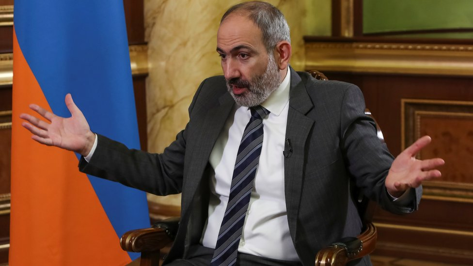 Armenian Prime Minister Nikol Pashinyan is pictured during an interview with Reuters in Yerevan, Armenia, 13 October, 2020.