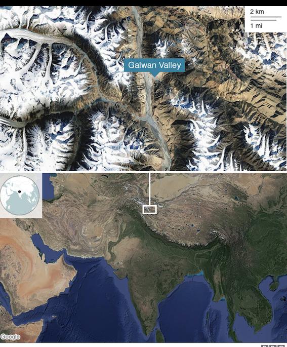 Lembah Galwan tempat bentrokan antara tentara India dan China terjadi.
