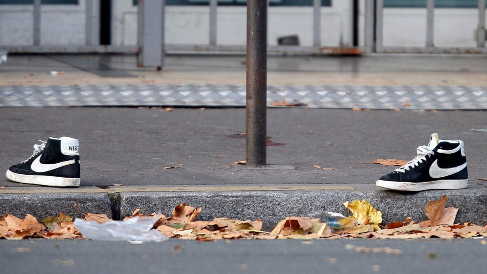 A pair of abandoned shoes outside the Bataclan concert hall on 14 November 2015
