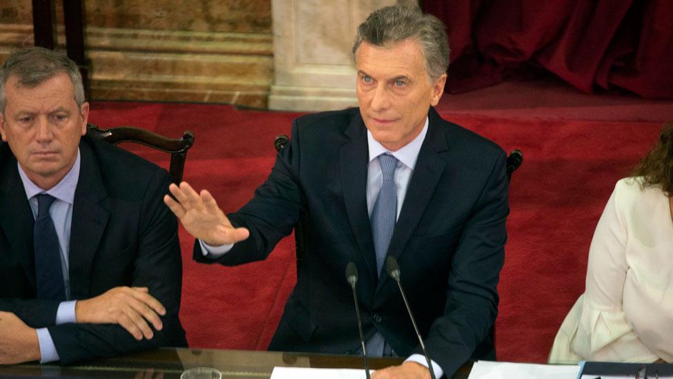 Mauricio Macri hablando ante el Congreso